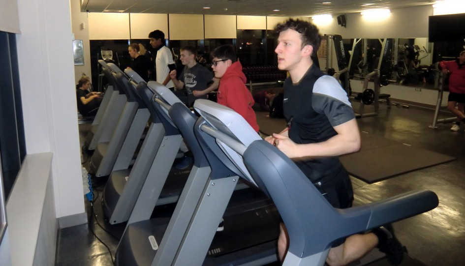 Fundraising by running 750m on the treadmill.